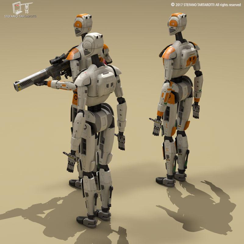 sci-fi droid 3d model 3ds dxf fbx c4d obj 253084