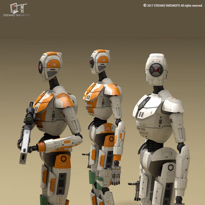sci-fi droid 3d model 3ds dxf fbx c4d obj 253085