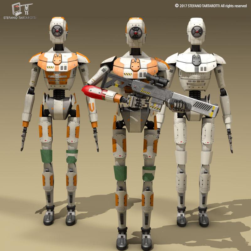 sci-fi droid 3d model 3ds dxf fbx c4d obj 253086