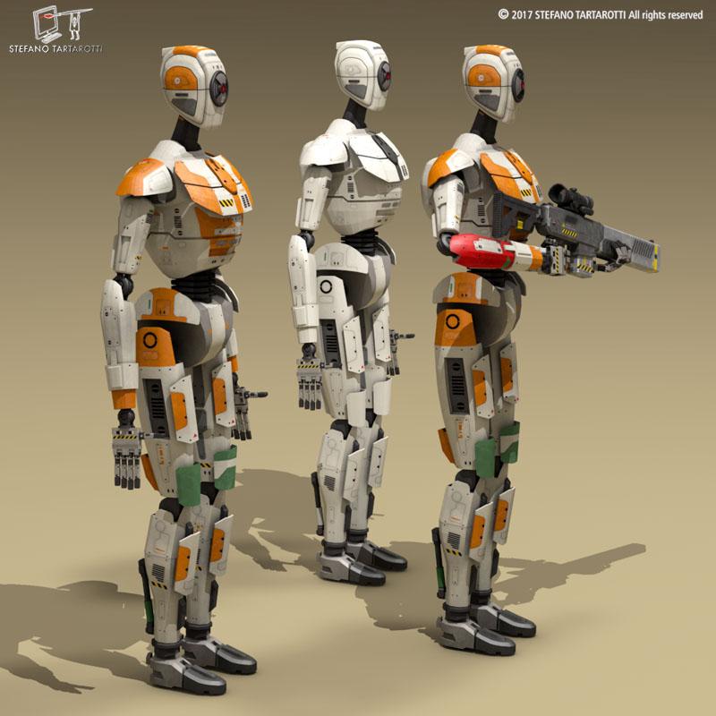 sci-fi droid 3d model 3ds dxf fbx c4d obj 253087
