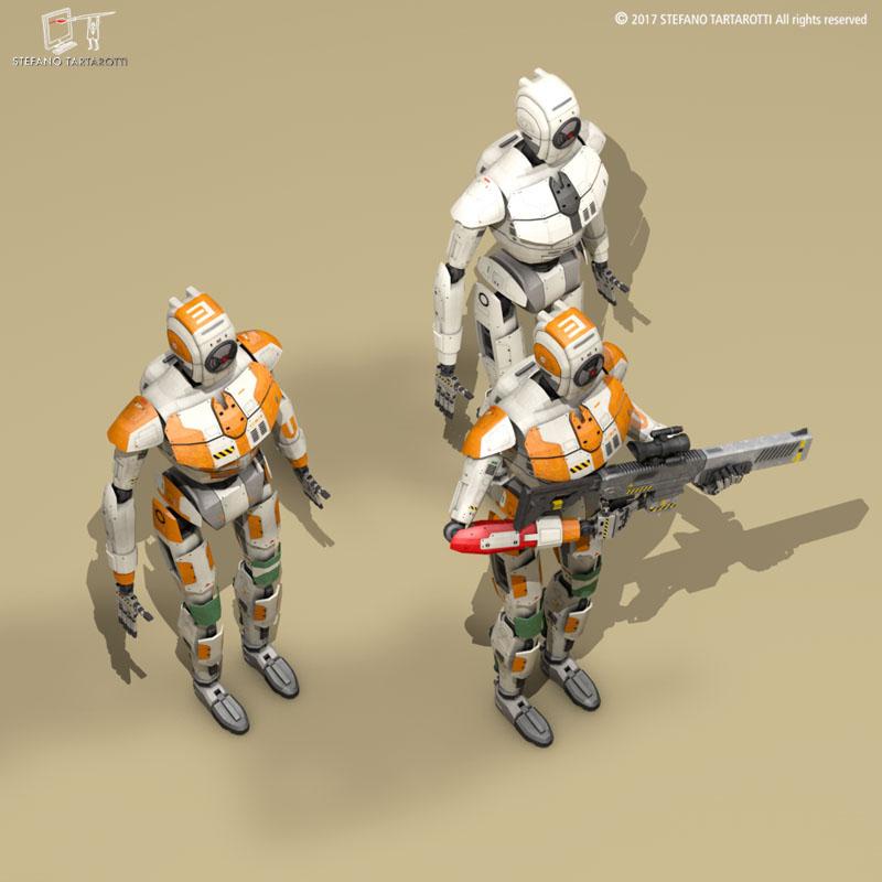 sci-fi droid 3d model 3ds dxf fbx c4d obj 253088