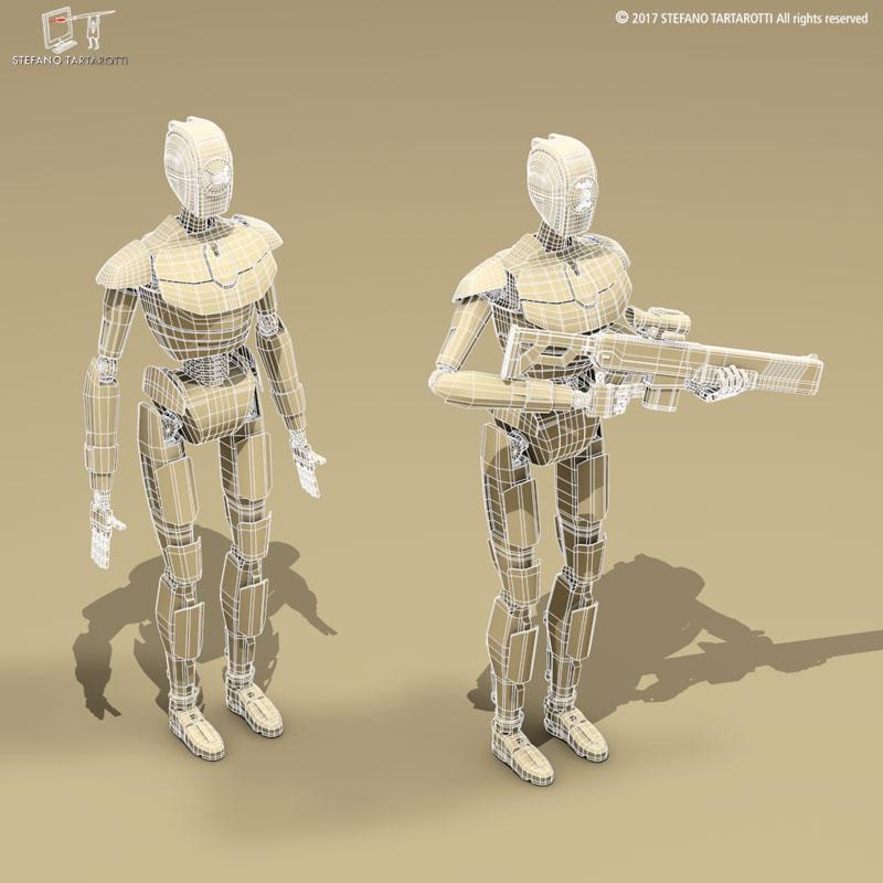 sci-fi droid 3d model 3ds dxf fbx c4d obj 253089