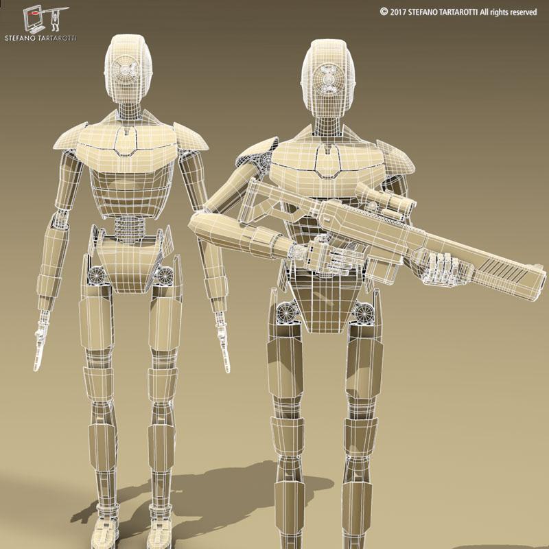 sci-fi droid 3d model 3ds dxf fbx c4d obj 253090