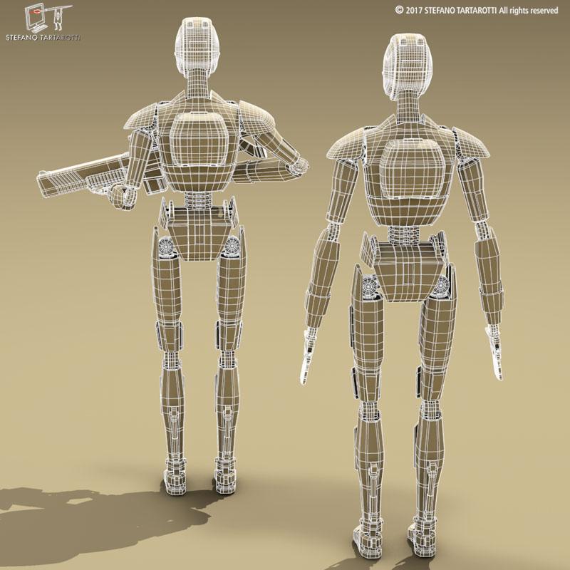 sci-fi droid 3d model 3ds dxf fbx c4d obj 253091