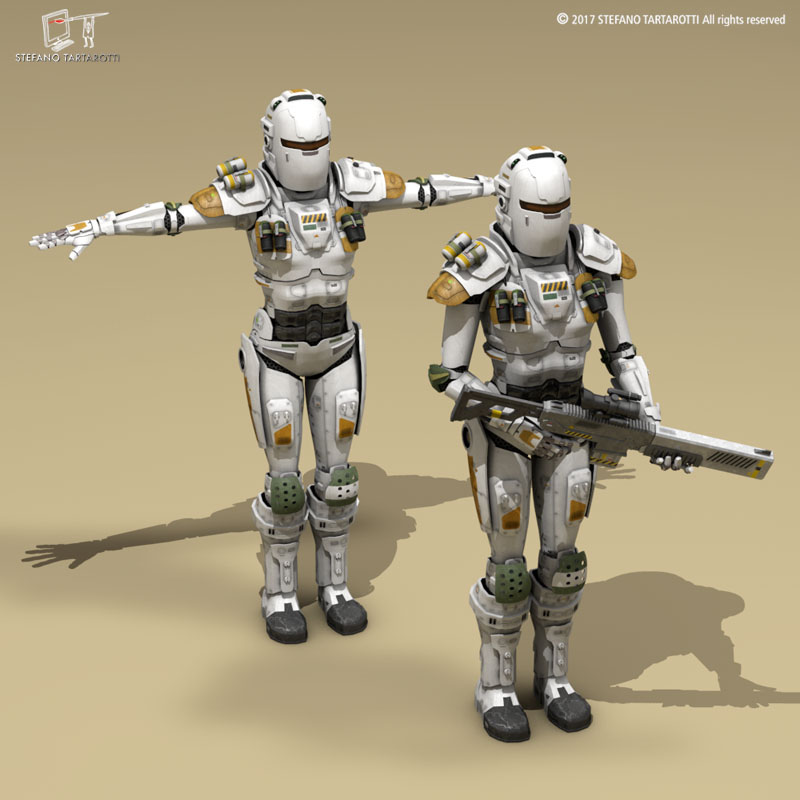 sci-fi female armoured soldier 3d model 3ds dxf fbx c4d obj 253133