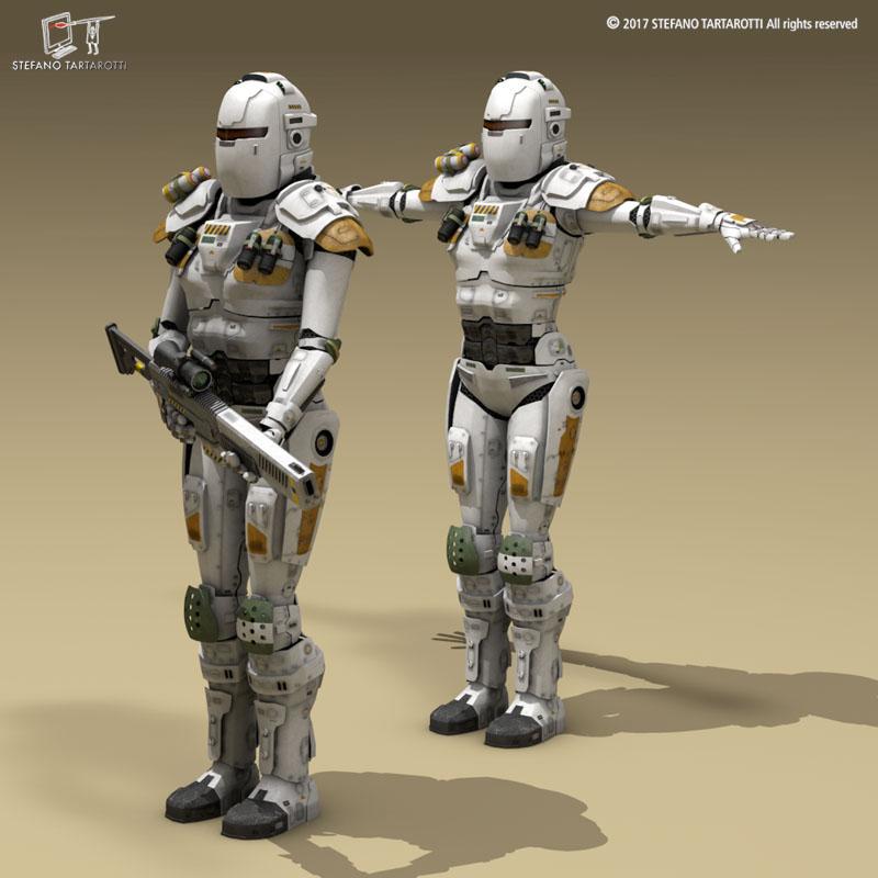 Sci-fi female armoured soldier 3d model 3ds dxf fbx c4d obj