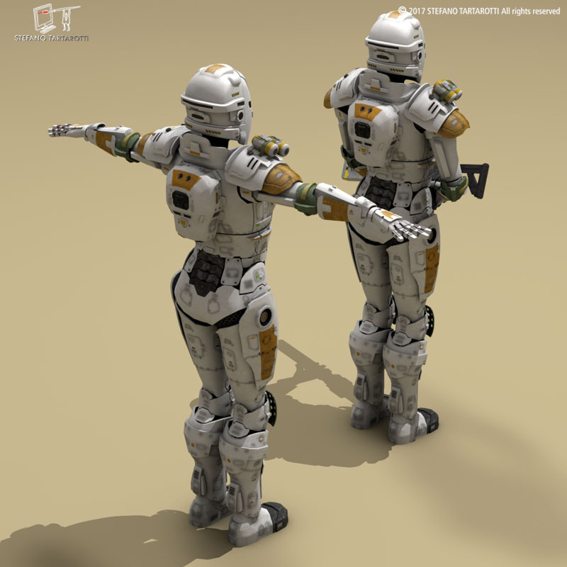 sci-fi female armoured soldier 3d model 3ds dxf fbx c4d obj 253137