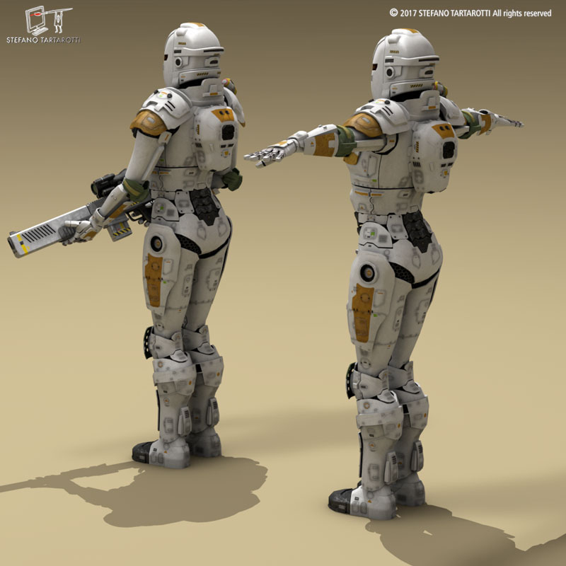 sci-fi female armoured soldier 3d model 3ds dxf fbx c4d obj 253138