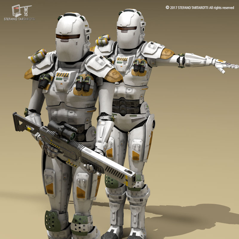 sci-fi female armoured soldier 3d model 3ds dxf fbx c4d obj 253139