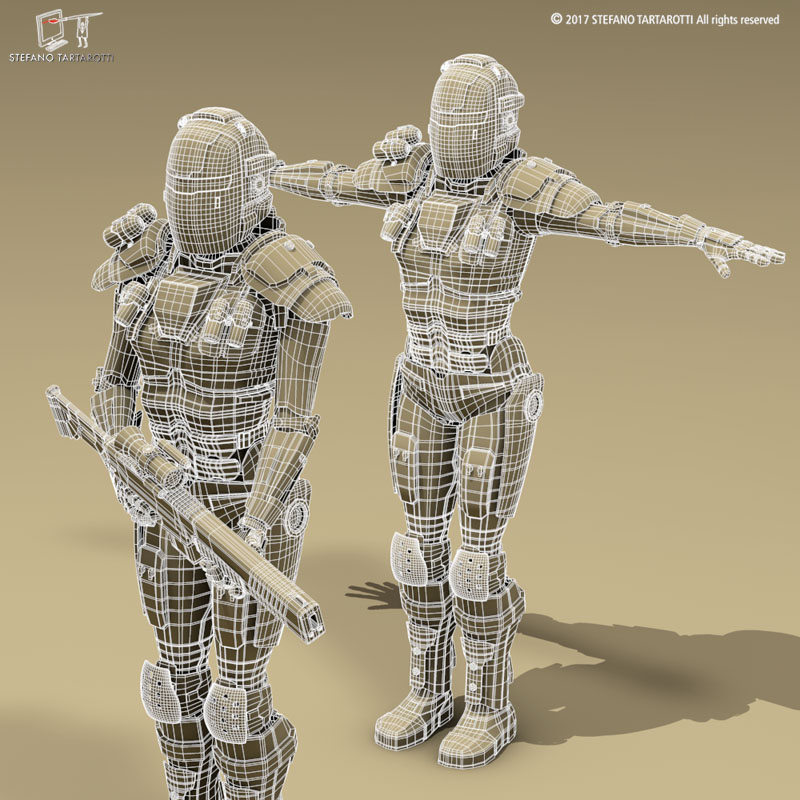 sci-fi female armoured soldier 3d model 3ds dxf fbx c4d obj 253140