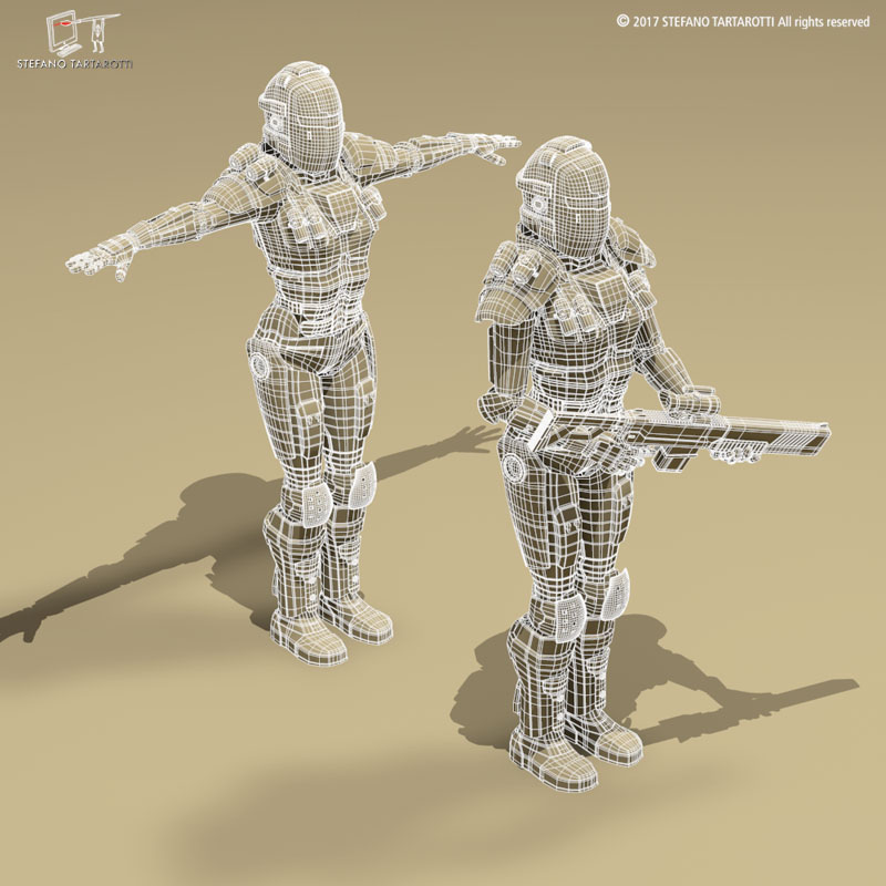 sci-fi female armoured soldier 3d model 3ds dxf fbx c4d obj 253141