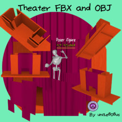 Theater Stage FBX and OBJ 3d model low poly render ready
