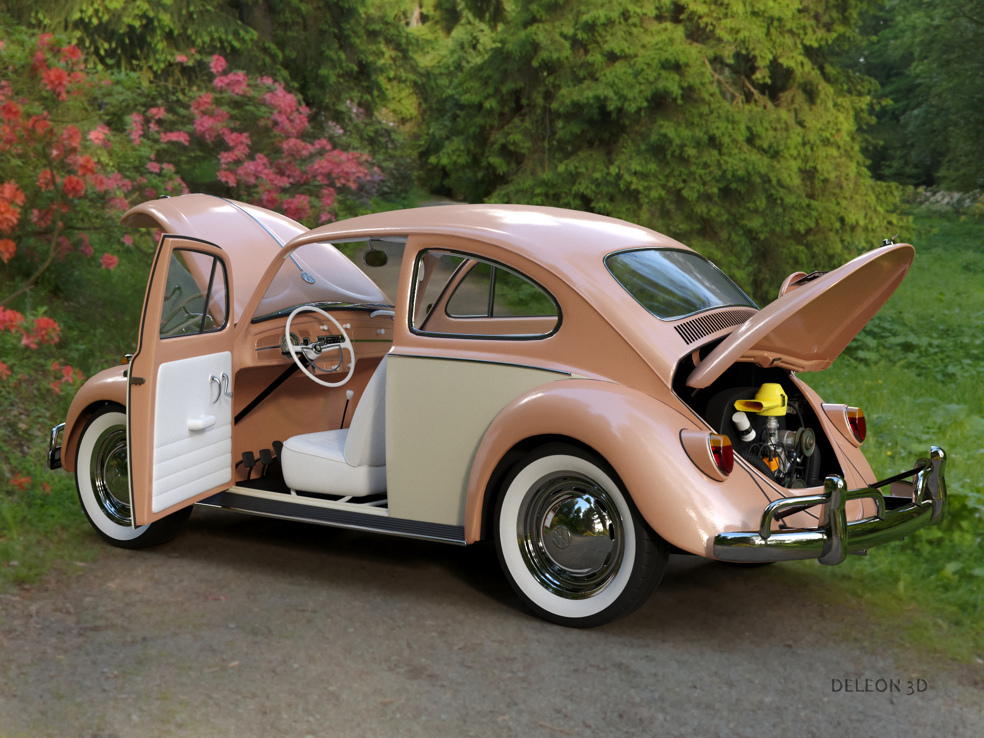 Volkswagen Beetle Fusca 1969 3D Model