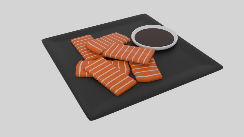 salmon sashimi 3d model blend 263522