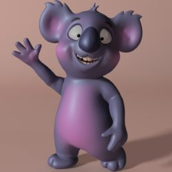 Cartoon koala RIGGED and ANIMATED 3d model 3d printing augmented reality games low poly render ready