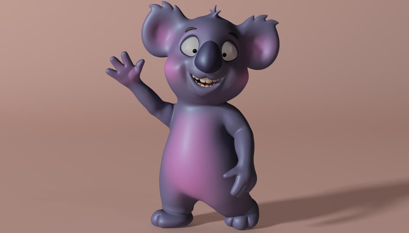 cartoon koala rigged and animated 3d model 3ds max fbx obj stl 263626