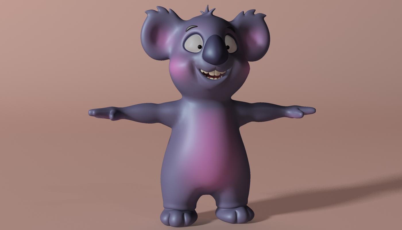 cartoon koala rigged and animated 3d model 3ds max fbx obj stl 263627