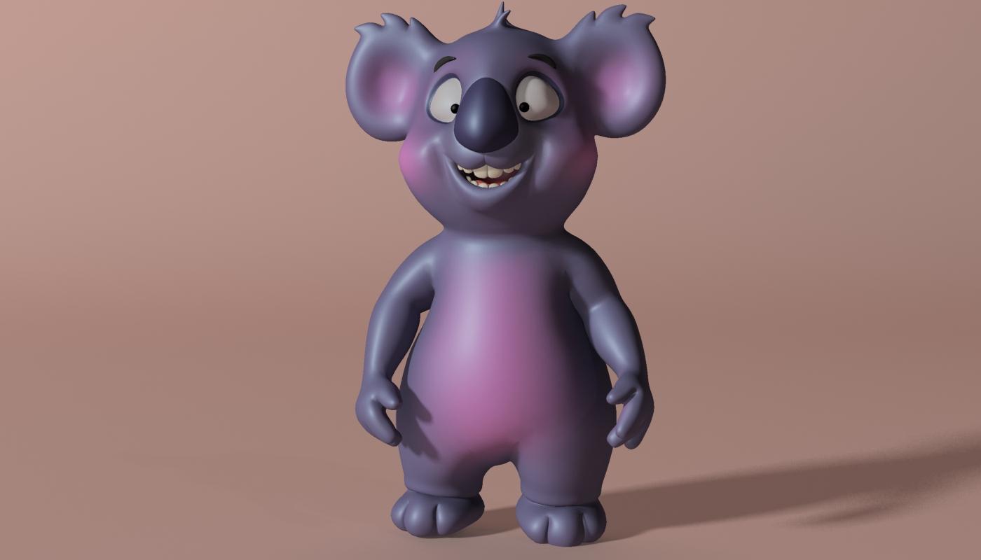 cartoon koala rigged and animated 3d model 3ds max fbx obj stl 263630