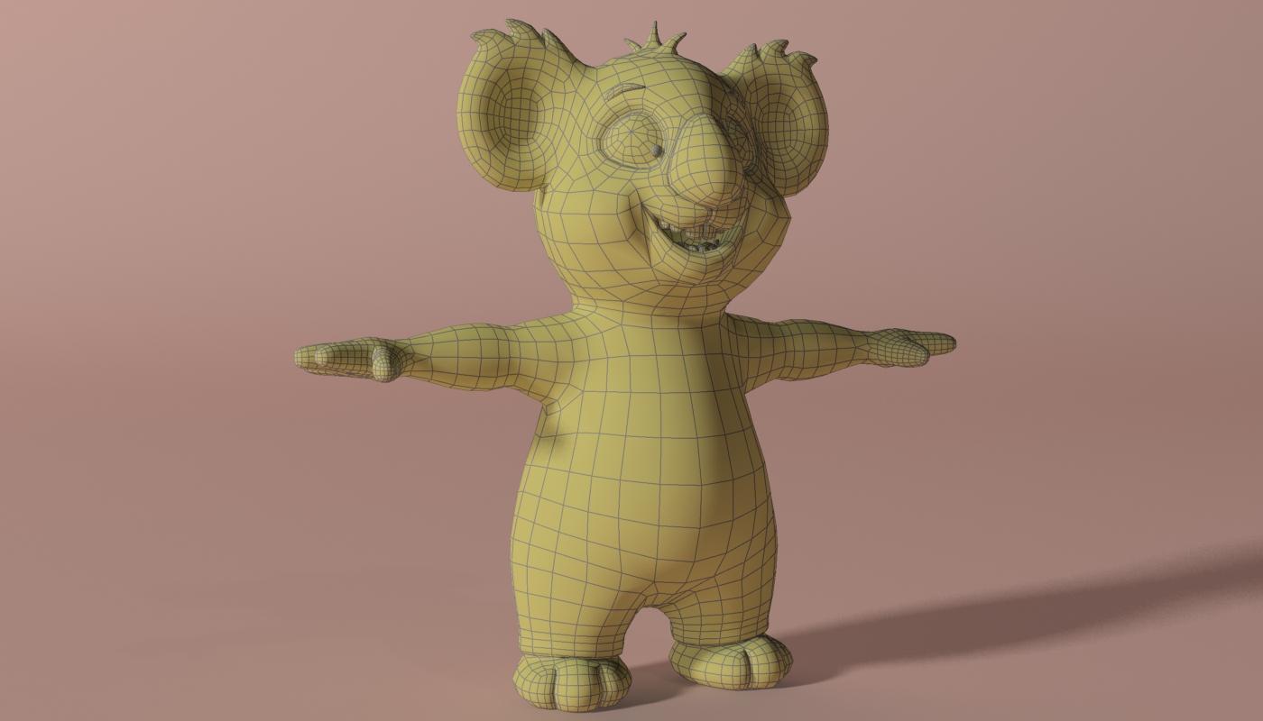 cartoon koala rigged and animated 3d model 3ds max fbx obj stl 263632