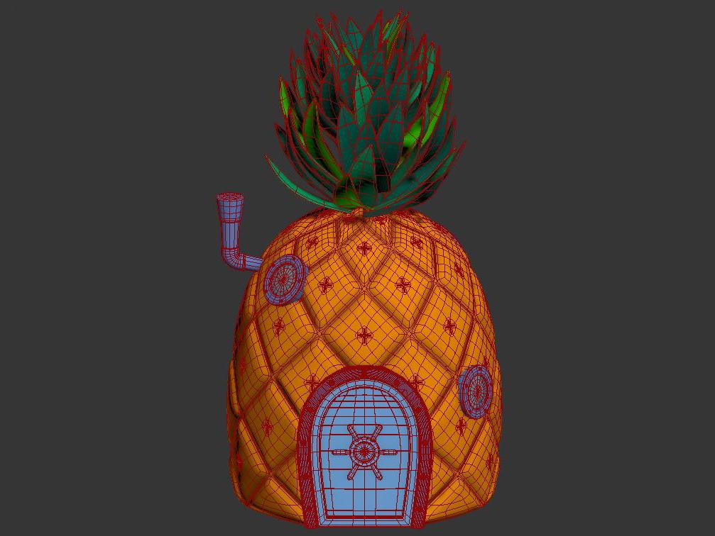 pineapple spongebob 3d model max max fbx lxo obj stl c4d 263657
