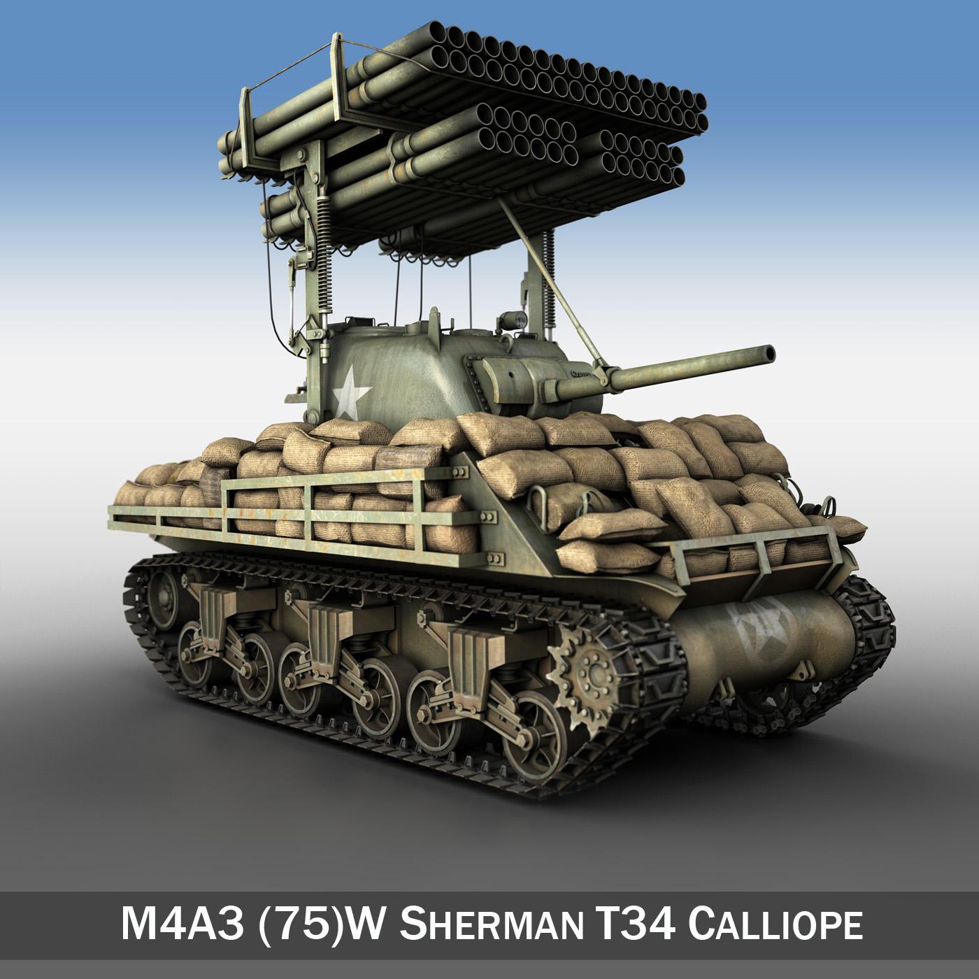 m4a3 sherman calliope 3d model 3ds c4d lwo texture obj 263939