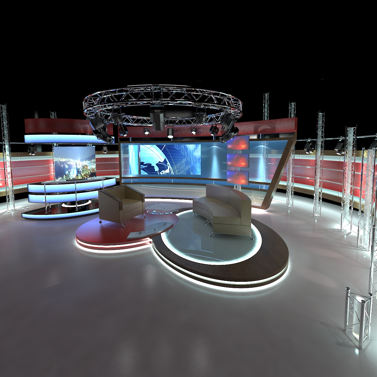 virtual tv studio chat set 1 3d model dwg dxf obj c4d c4d max 263998
