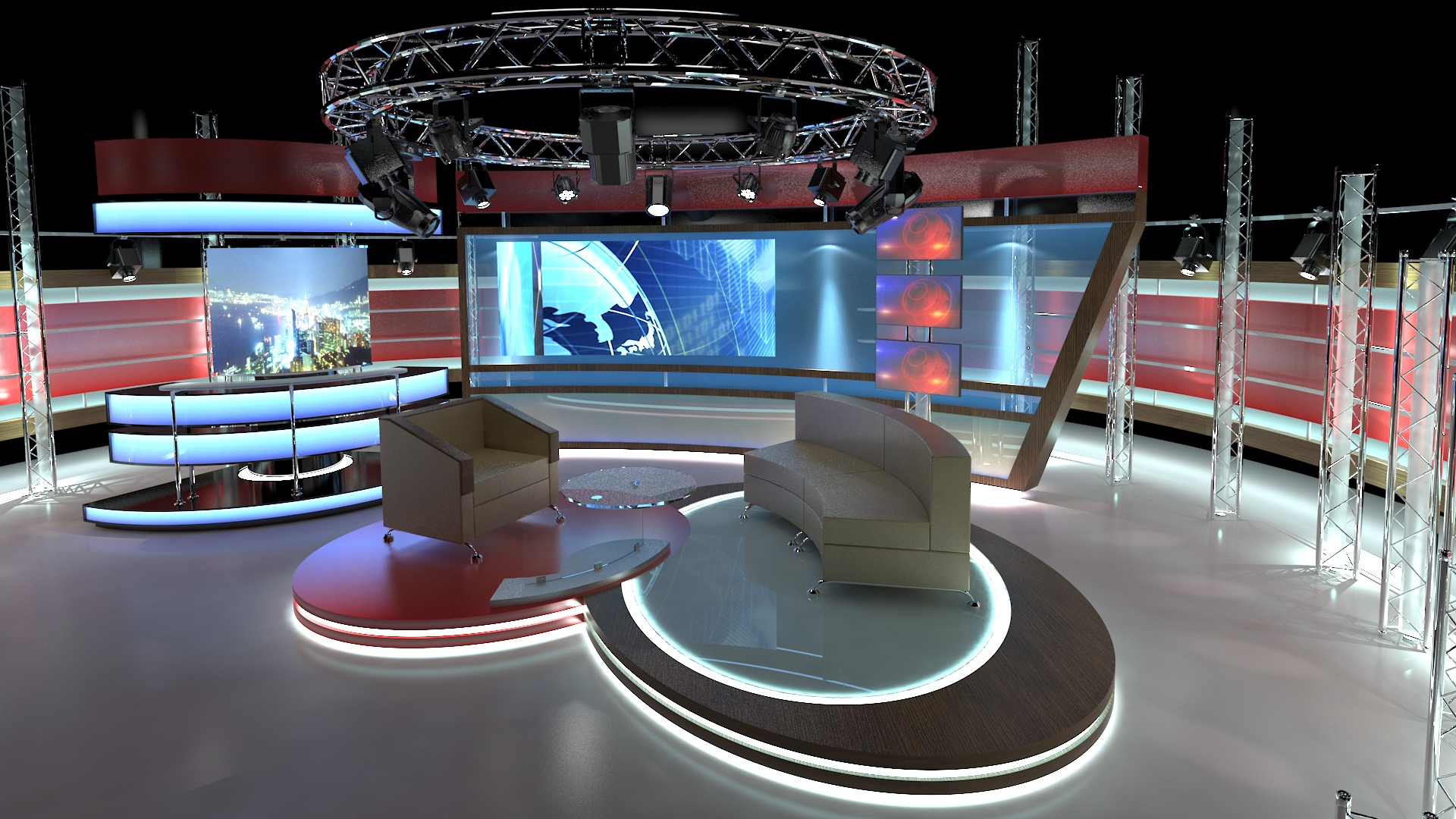 virtual tv studio chat set 1 3d model dwg dxf obj c4d c4d max 263999