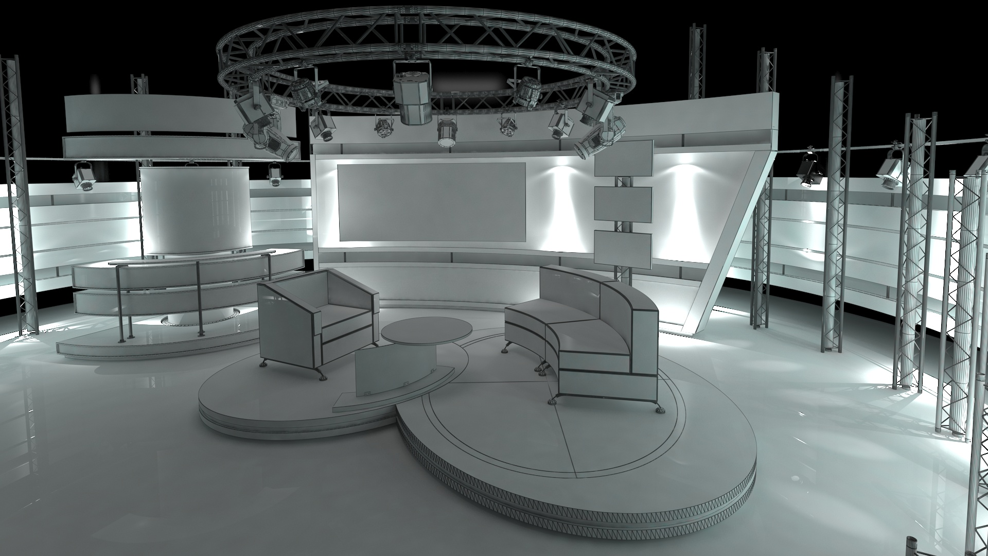 virtual tv studio chat set 1 3d model dwg dxf obj c4d c4d max 264000