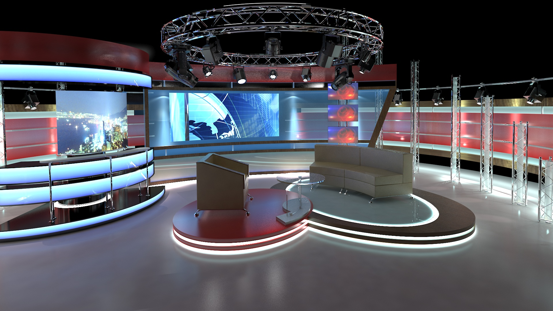 virtual tv studio chat set 1 3d model dwg dxf obj c4d c4d max 264001