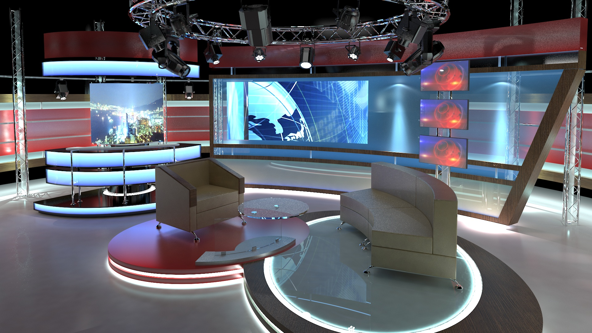 virtual tv studio chat set 1 3d model dwg dxf obj c4d c4d max 264002