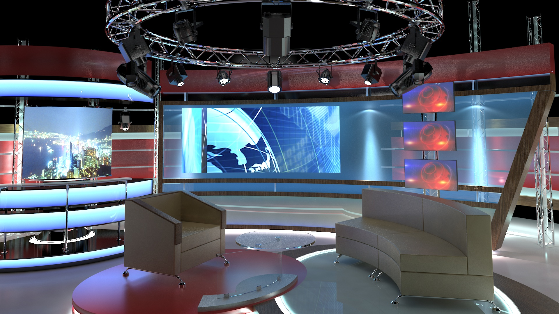 virtual tv studio chat set 1 3d model dwg dxf obj c4d c4d max 264003