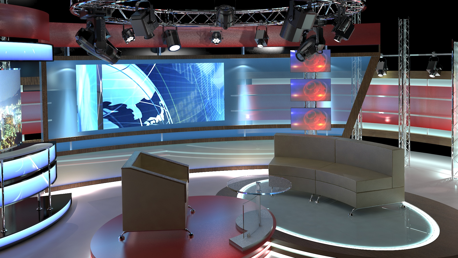 virtual tv studio chat set 1 3d model dwg dxf obj c4d c4d max 264004