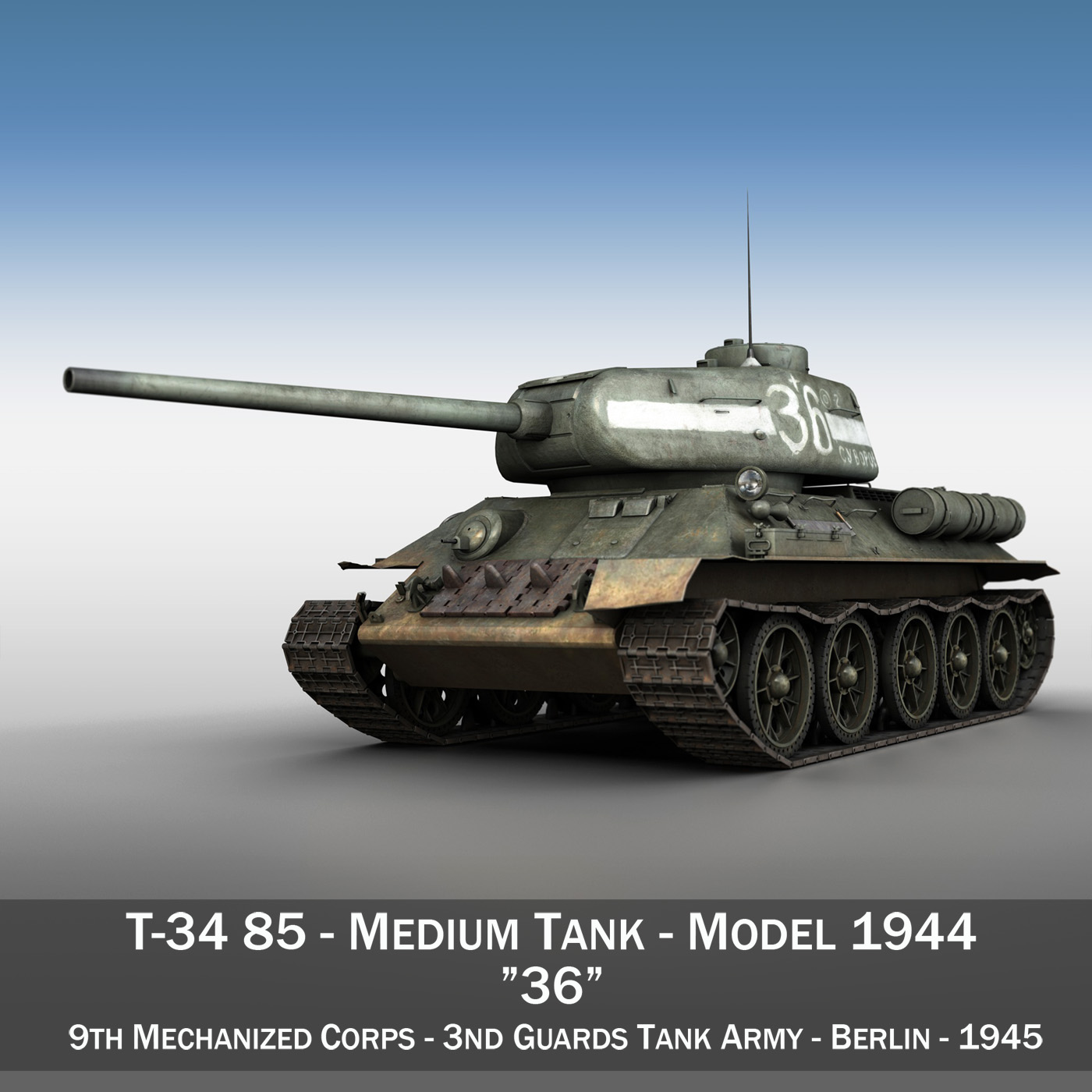 t-34 85 - sovet orta tank - 36 3d model 3ds c4d lwo obj 264142