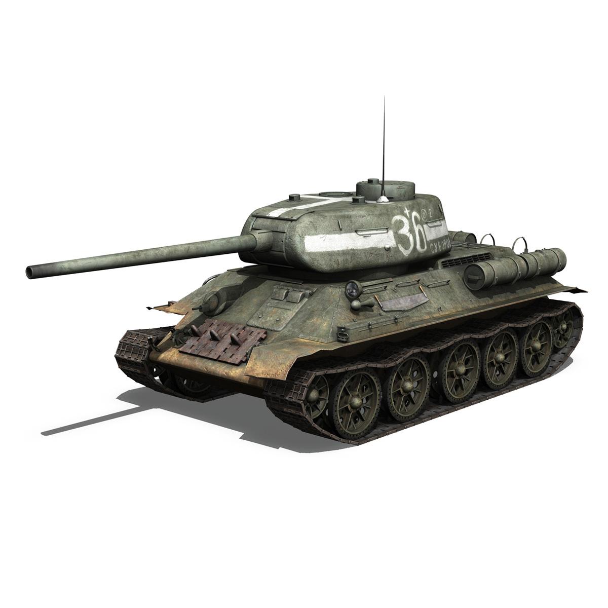 t-34 85 – soviet medium tank – 36 3d model 3ds c4d lwo obj 264143