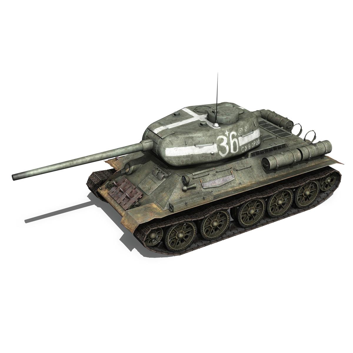 t-34 85 – soviet medium tank – 36 3d model 3ds c4d lwo obj 264144