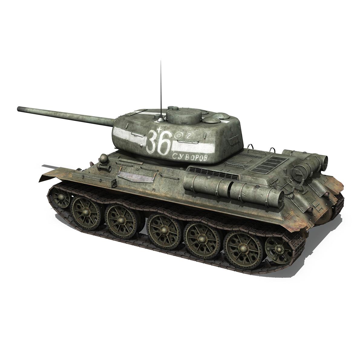 t-34 85 – soviet medium tank – 36 3d model 3ds c4d lwo obj 264145