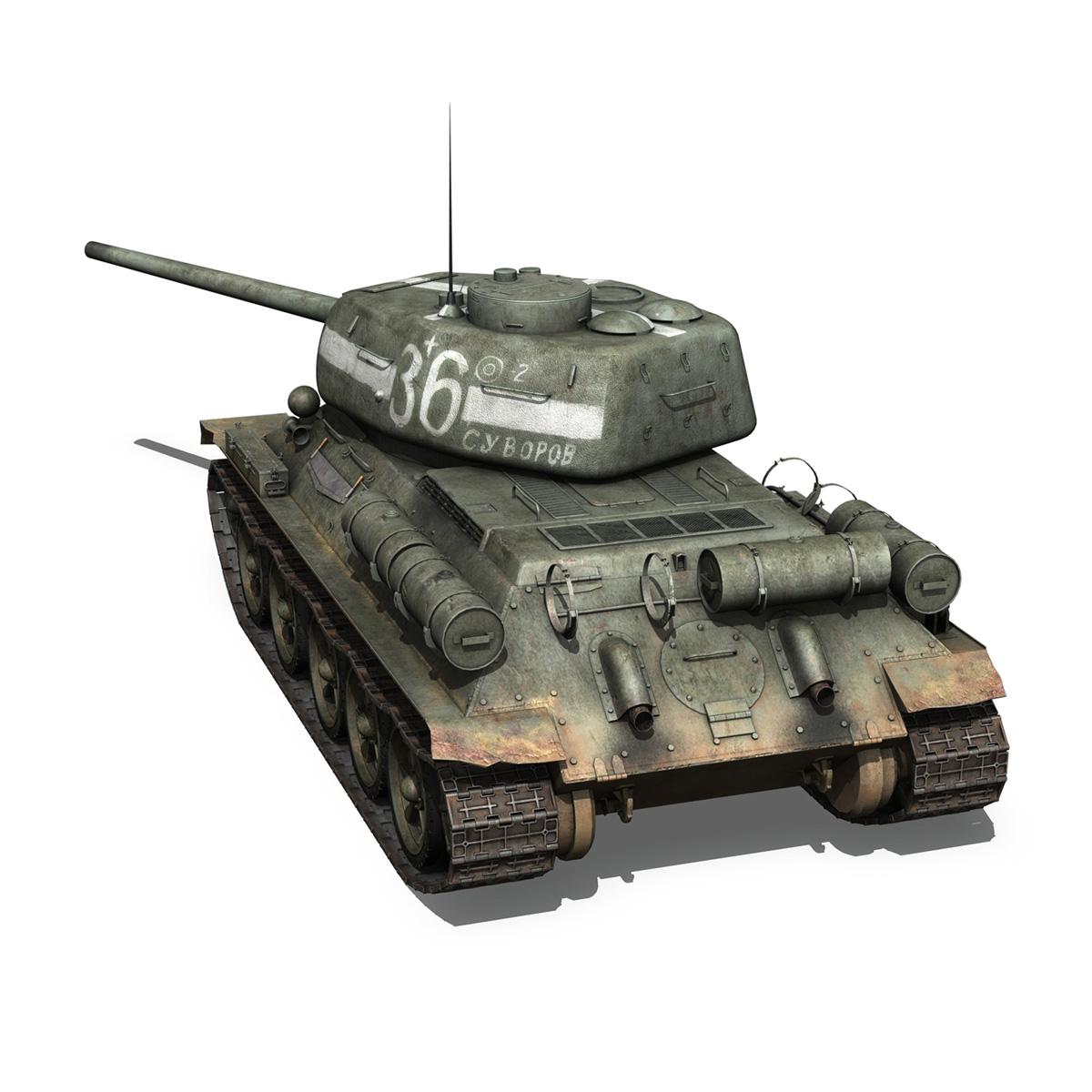 t-34 85 – soviet medium tank – 36 3d model 3ds c4d lwo obj 264146
