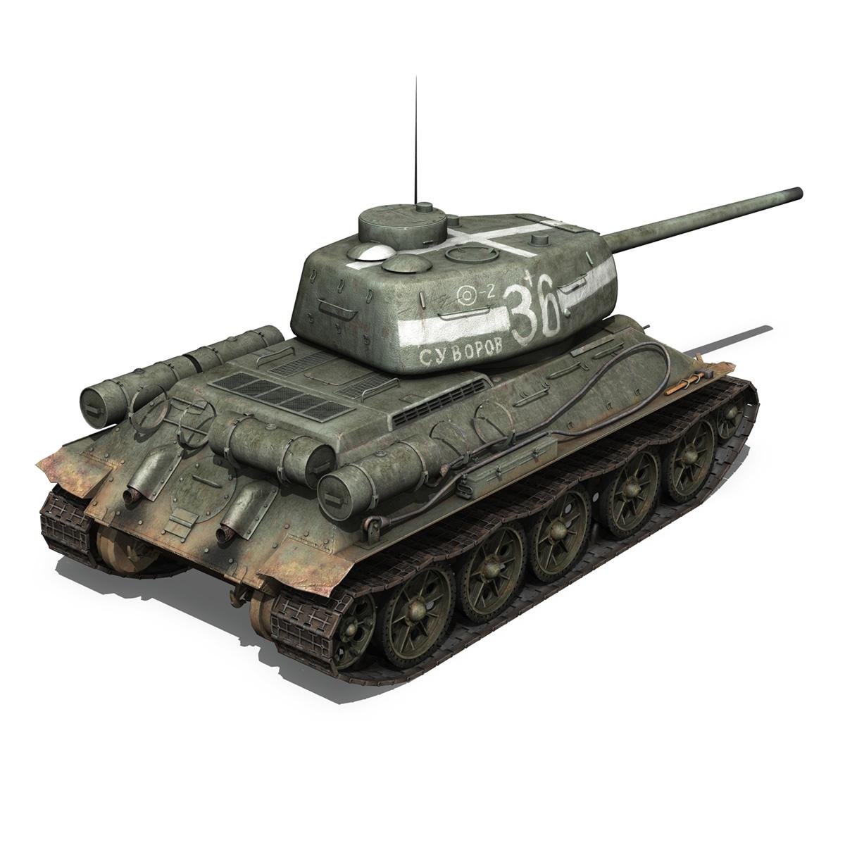 t-34 85 – soviet medium tank – 36 3d model 3ds c4d lwo obj 264147