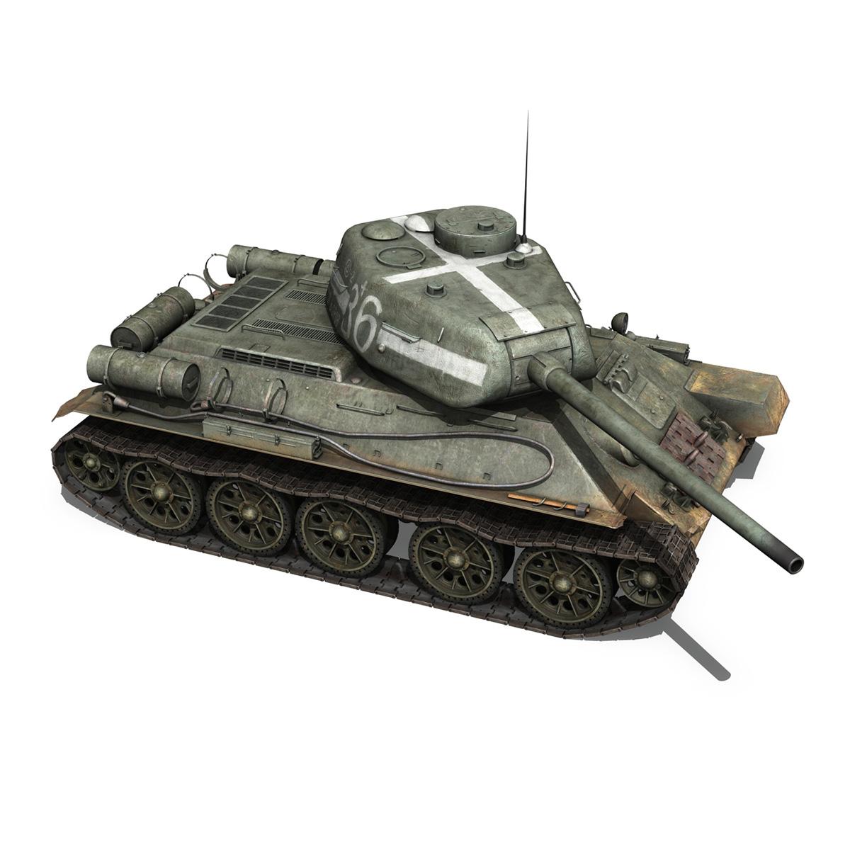 t-34 85 – soviet medium tank – 36 3d model 3ds c4d lwo obj 264148
