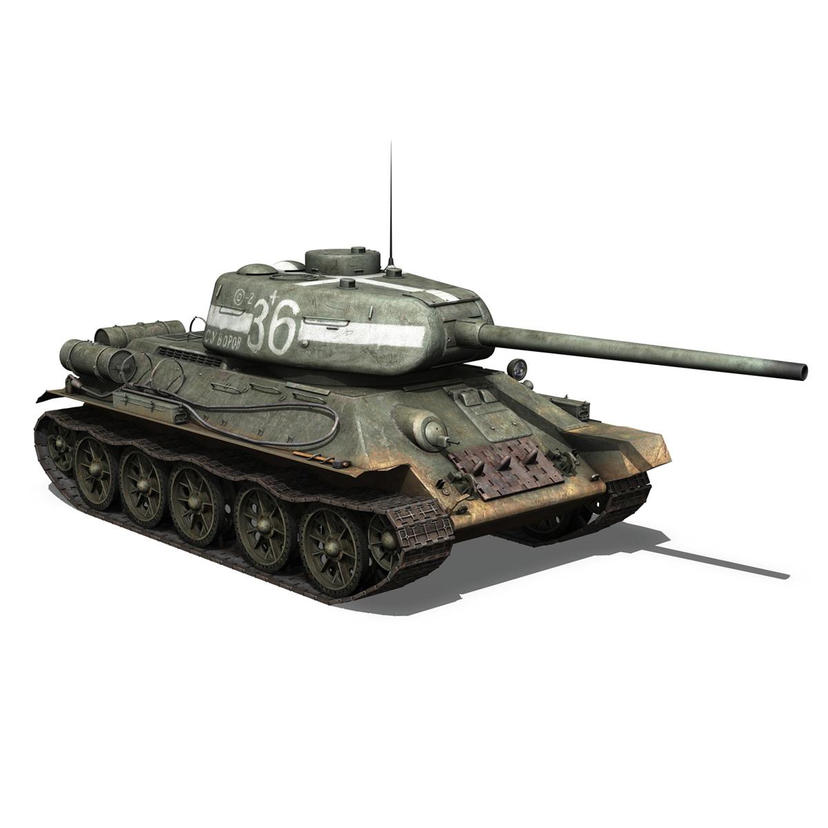 t-34 85 – soviet medium tank – 36 3d model 3ds c4d lwo obj 264149