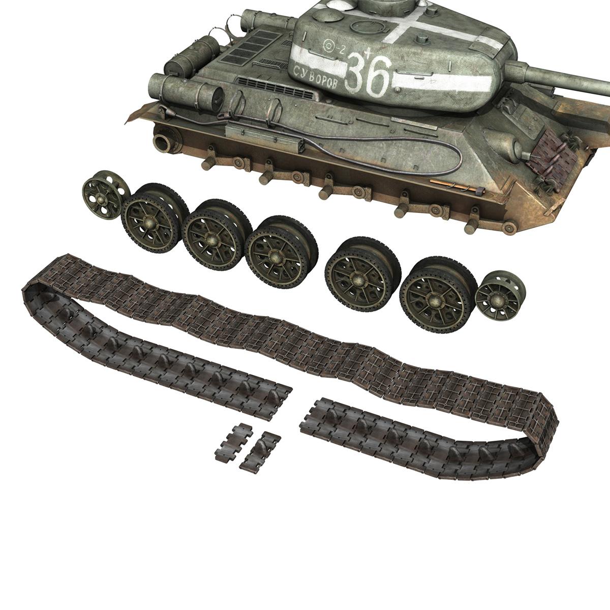 t-34 85 – soviet medium tank – 36 3d model 3ds c4d lwo obj 264150