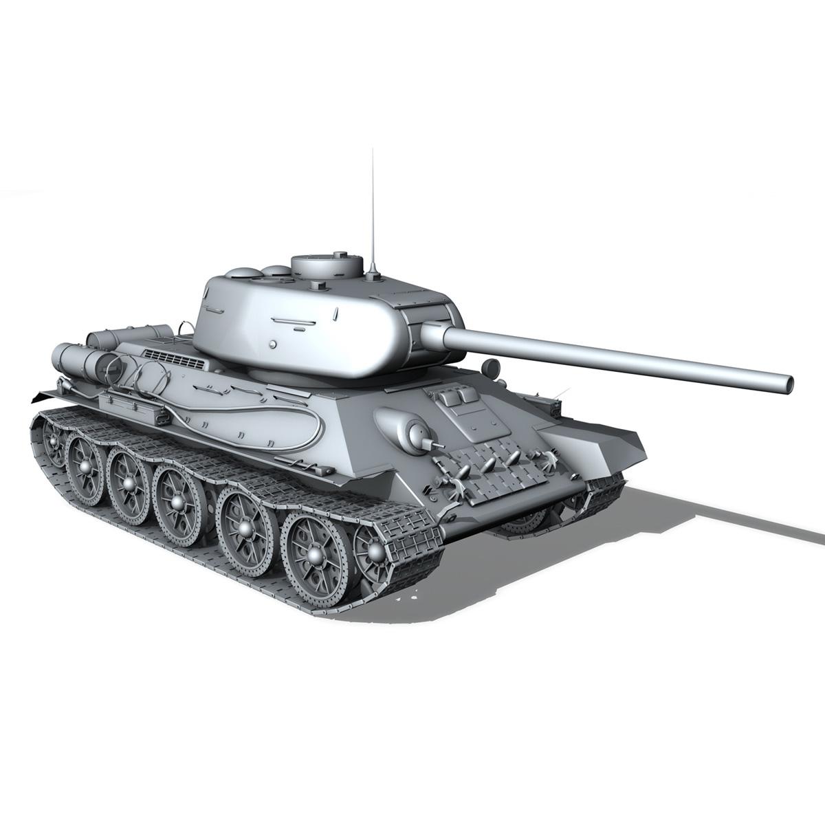 t-34 85 – soviet medium tank – 36 3d model 3ds c4d lwo obj 264151