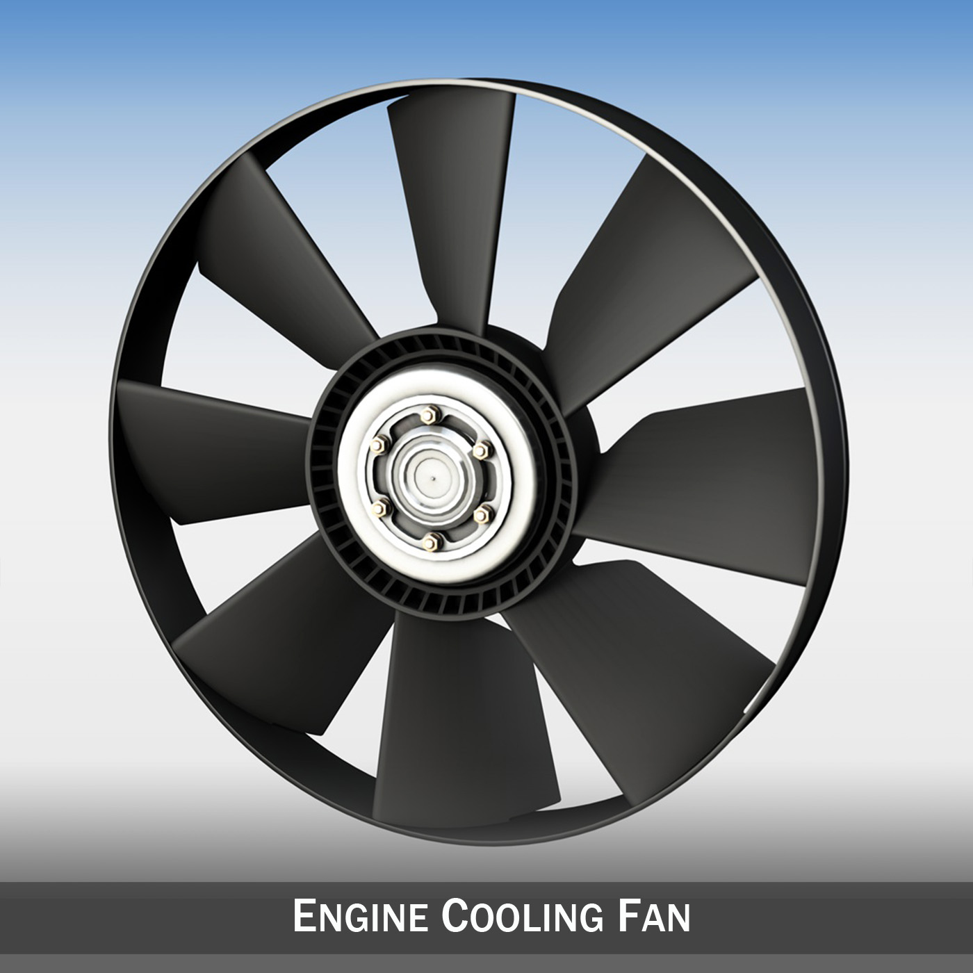 engine cooling fan 3d modelo 3ds c4d lwo obj 264180