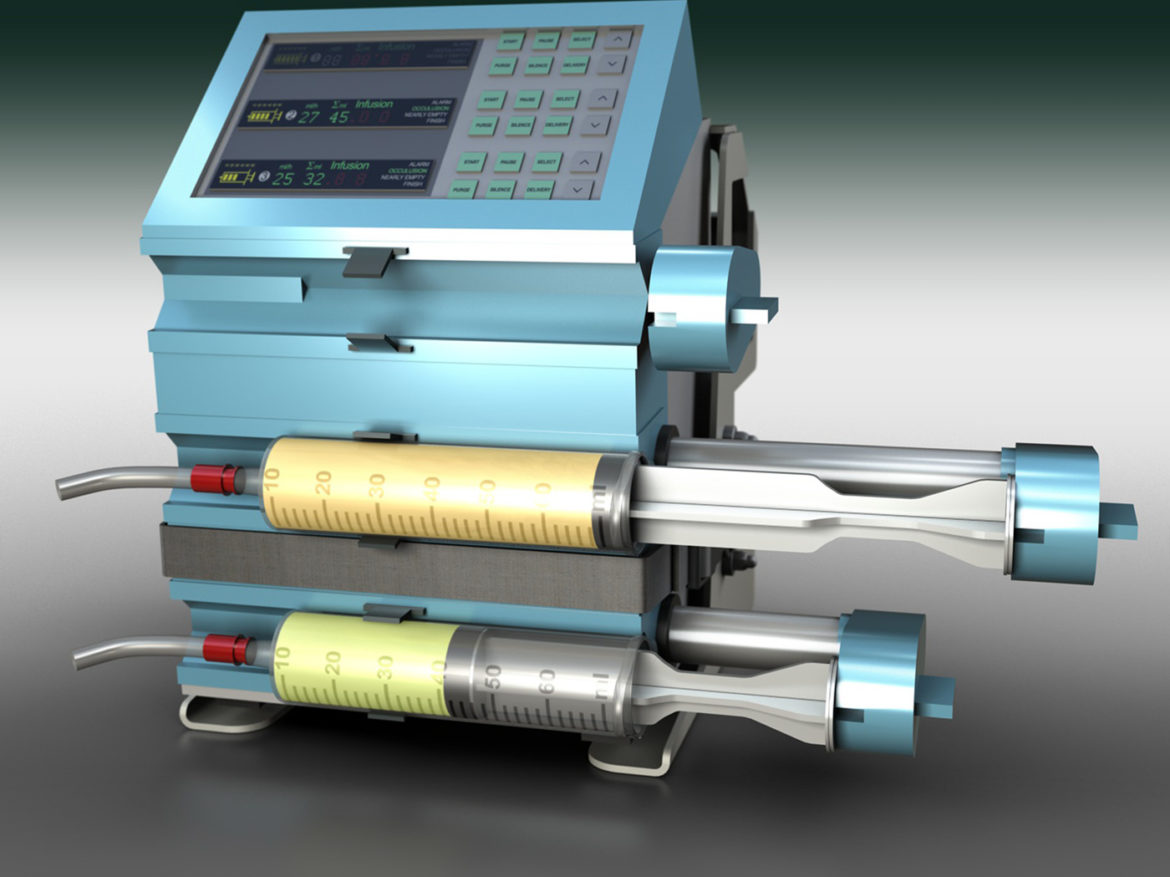 Triple Channel Syringe Pump 3d model 3ds c4d lwo lws lw obj