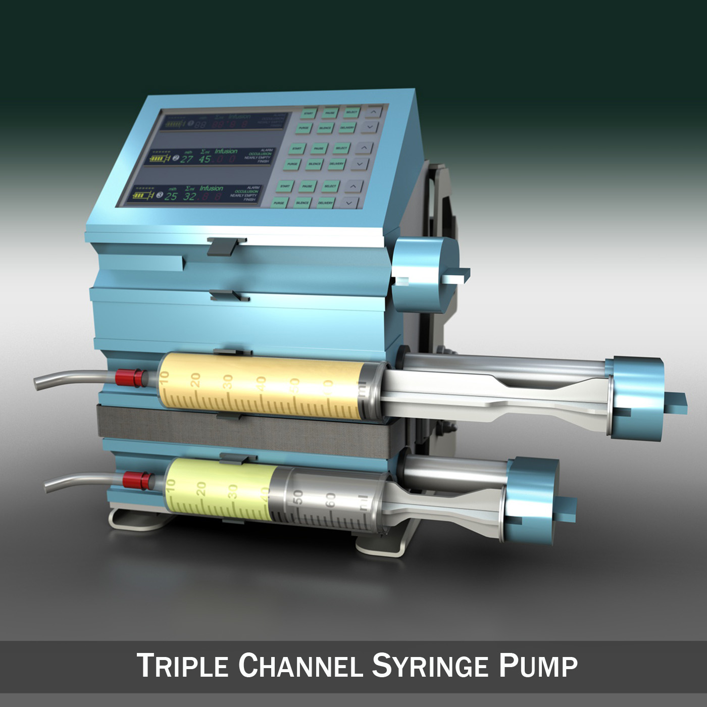 triple channel syringe pump 3d model 3ds c4d lwo obj 264198