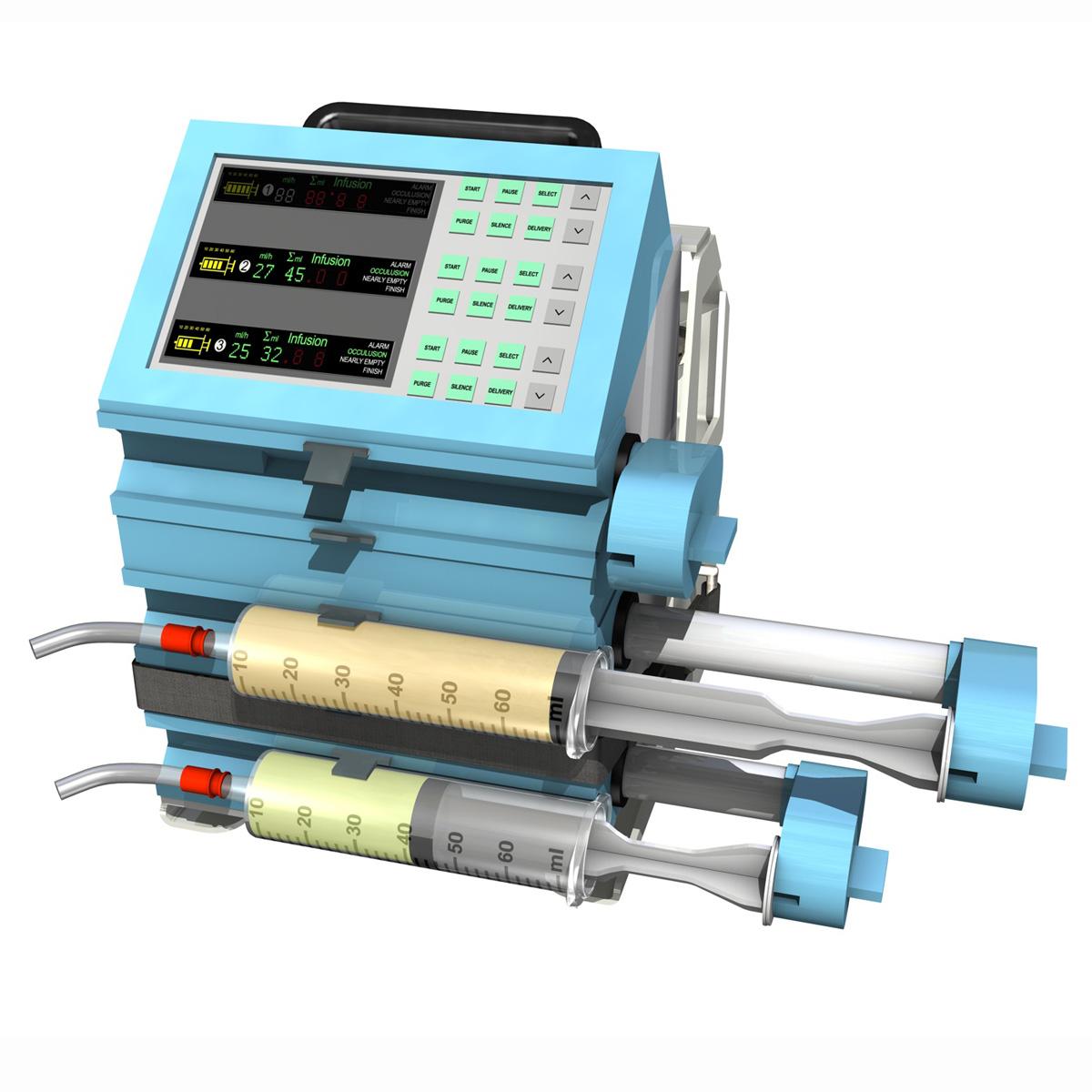 triple channel syringe pump 3d model 3ds c4d lwo obj 264199
