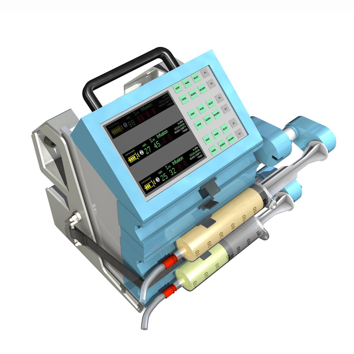 triple channel syringe pump 3d model 3ds c4d lwo obj 264200