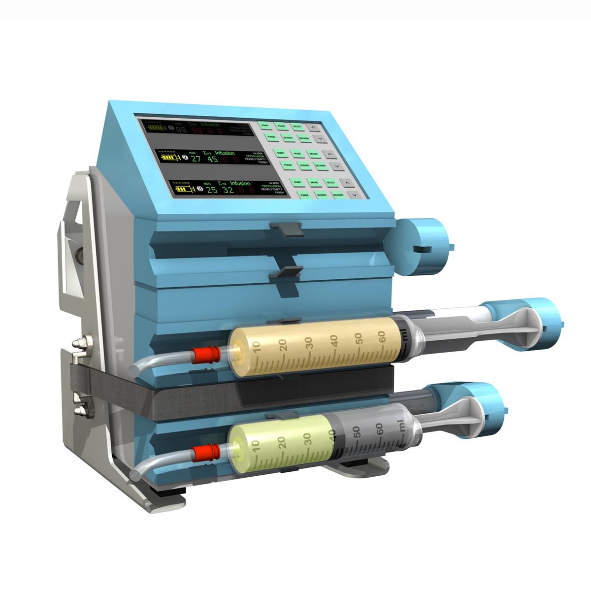 triple channel syringe pump 3d model 3ds c4d lwo obj 264202
