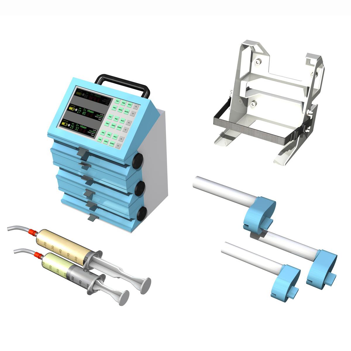 triple channel syringe pump 3d model 3ds c4d lwo obj 264203