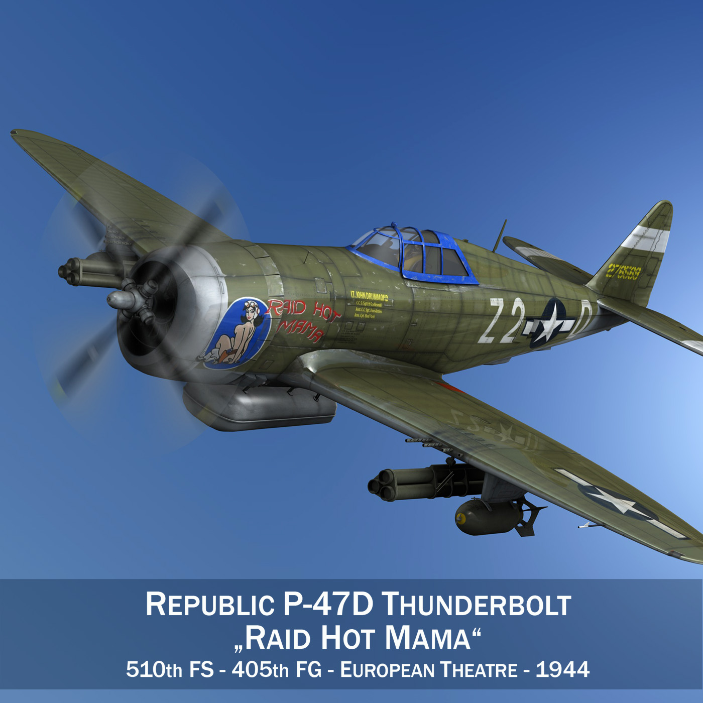 republic p-47d thunderbolt – raid hot mama 3d model 3ds c4d lwo obj 264311